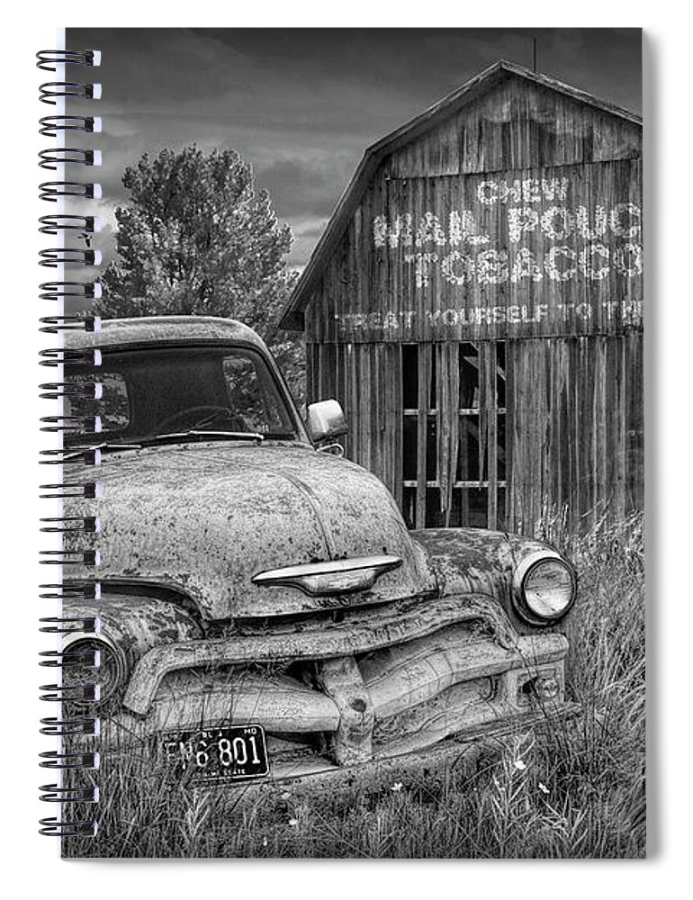 Chevy Spiral Notebook featuring the photograph Black And White Of Rusted Chevy Pickup Truck In A Rural Landscape By A Mail Pouch Tobacco Barn by Randall Nyhof