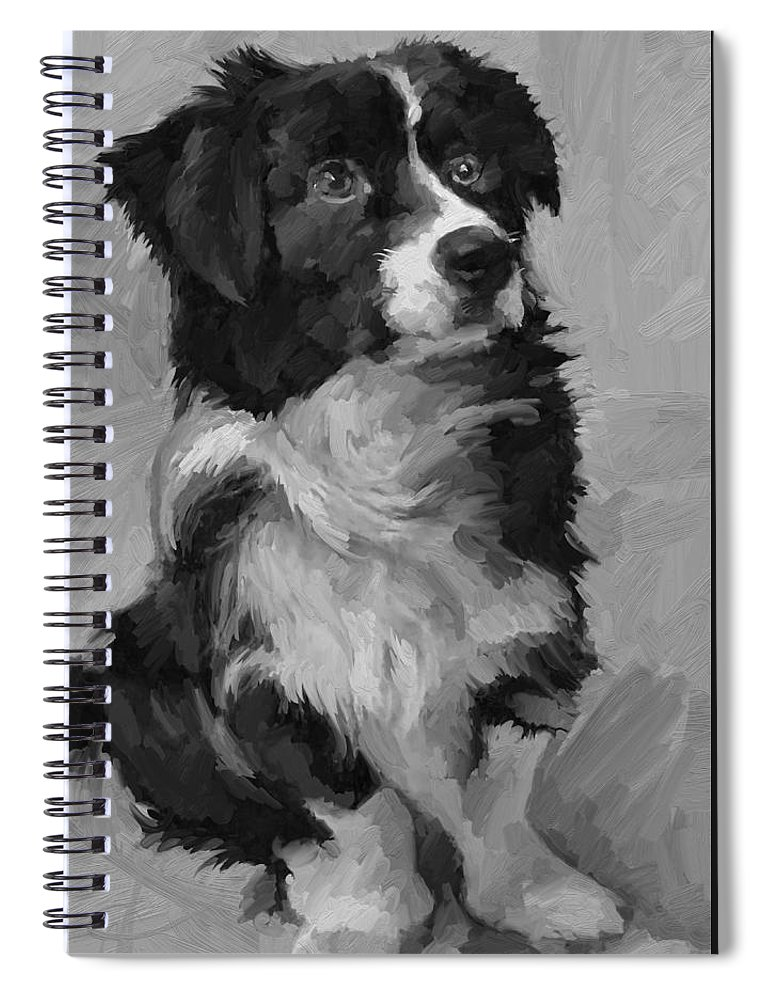 Border Spiral Notebook featuring the painting Black and White Pup by Scott Waters