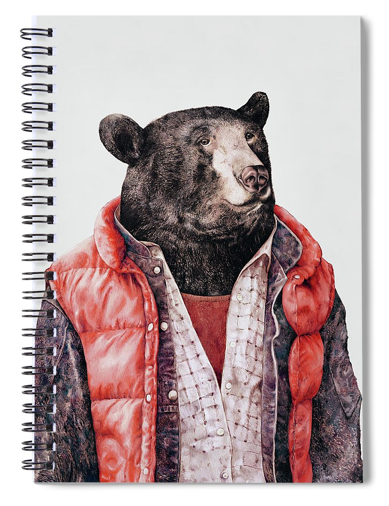 Bear Spiral Notebook featuring the painting Black Bear by Animal Crew