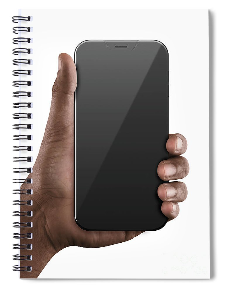Hand Spiral Notebook featuring the digital art Black Hand With Blank Generic Smartphone by Allan Swart