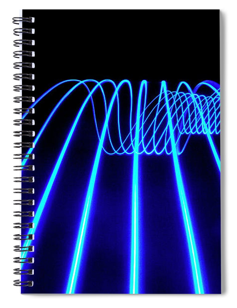 Laser Spiral Notebook featuring the photograph Blue Abstract Coloured Lights Trails by John Rensten