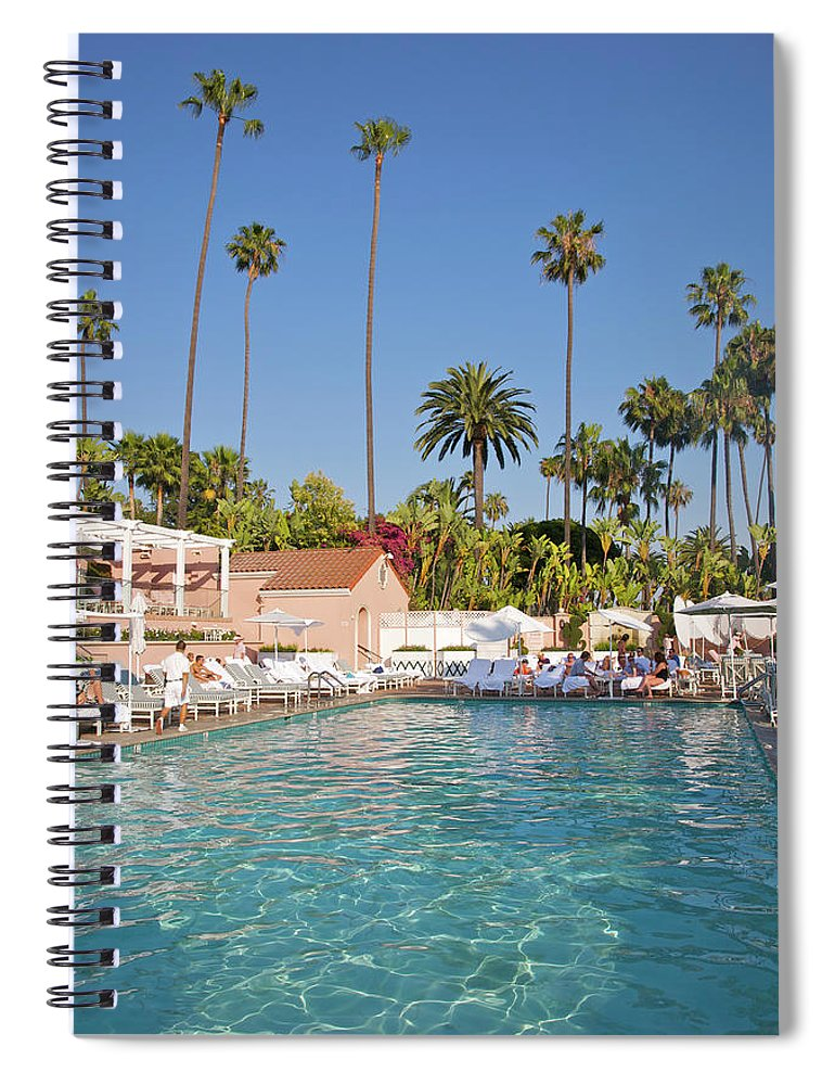 Tranquility Spiral Notebook featuring the photograph Blue-bottomed Pool Beneath Palm Trees by Barry Winiker