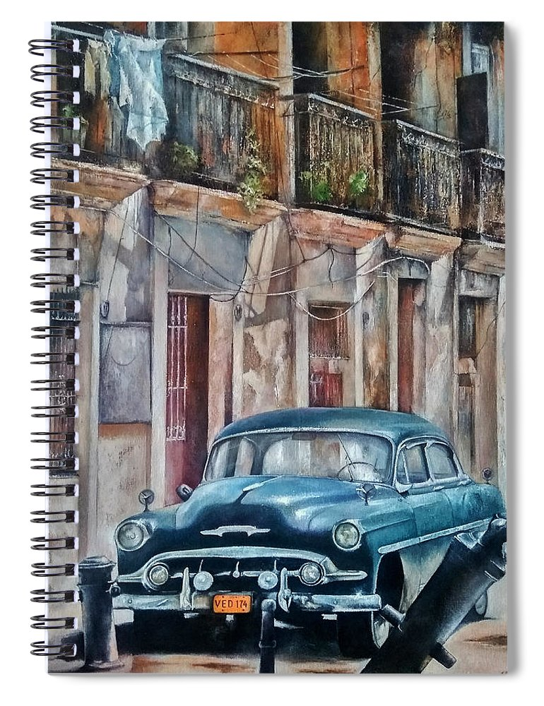 Car Spiral Notebook featuring the painting Blue car-Old Havana by Tomas Castano