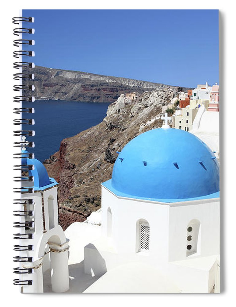 Greek Culture Spiral Notebook featuring the photograph Blue Domes Of Santorini by Jurgar