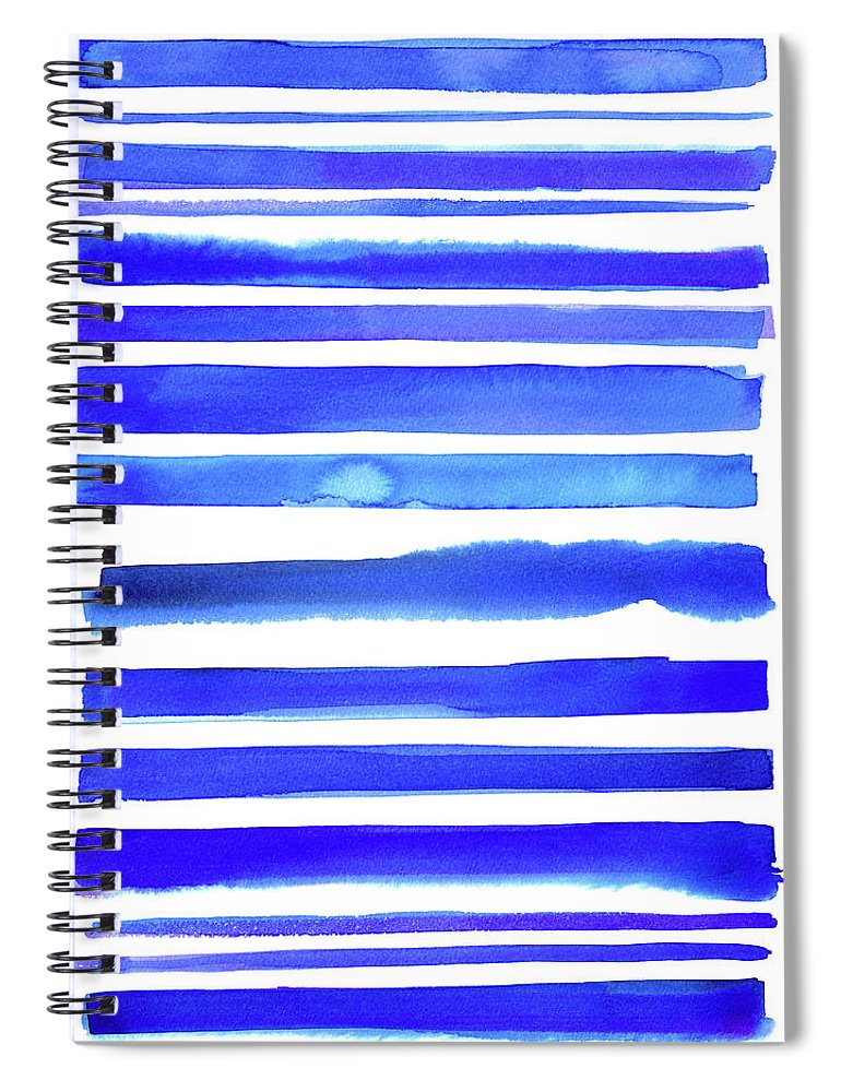 Art Spiral Notebook featuring the digital art Blue Textured Stripes by Johnwoodcock