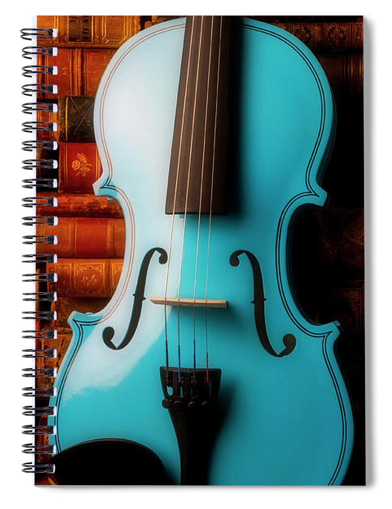 Book Spiral Notebook featuring the photograph Blue Violin And Old Books by Garry Gay