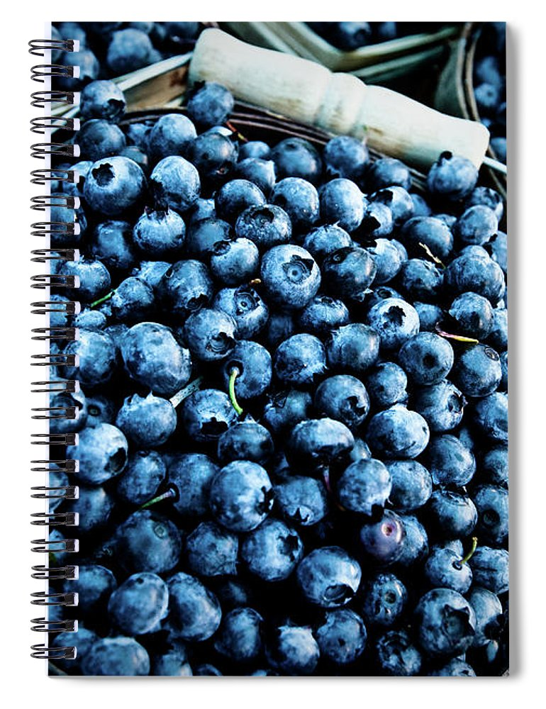 Heap Spiral Notebook featuring the photograph Blueberries At Farmers Market by Richard Deming Photography