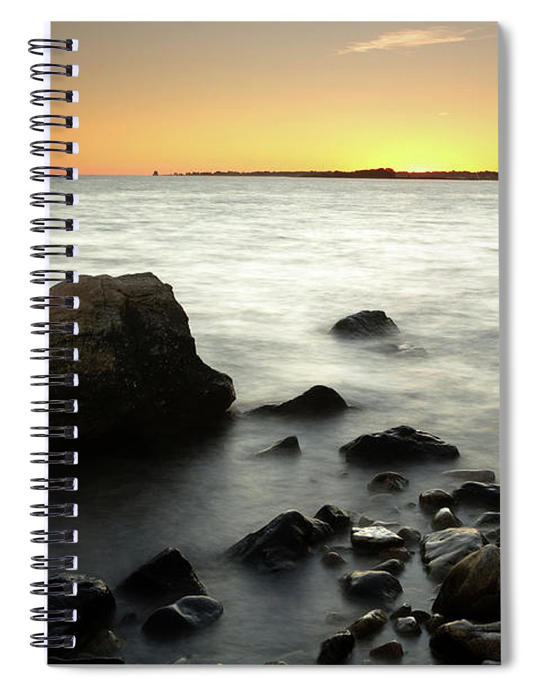Water's Edge Spiral Notebook featuring the photograph Bluff Point Sunset by Ericfoltz