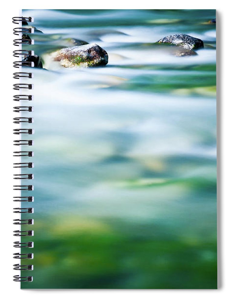 Scenics Spiral Notebook featuring the photograph Blurred River by Assalve