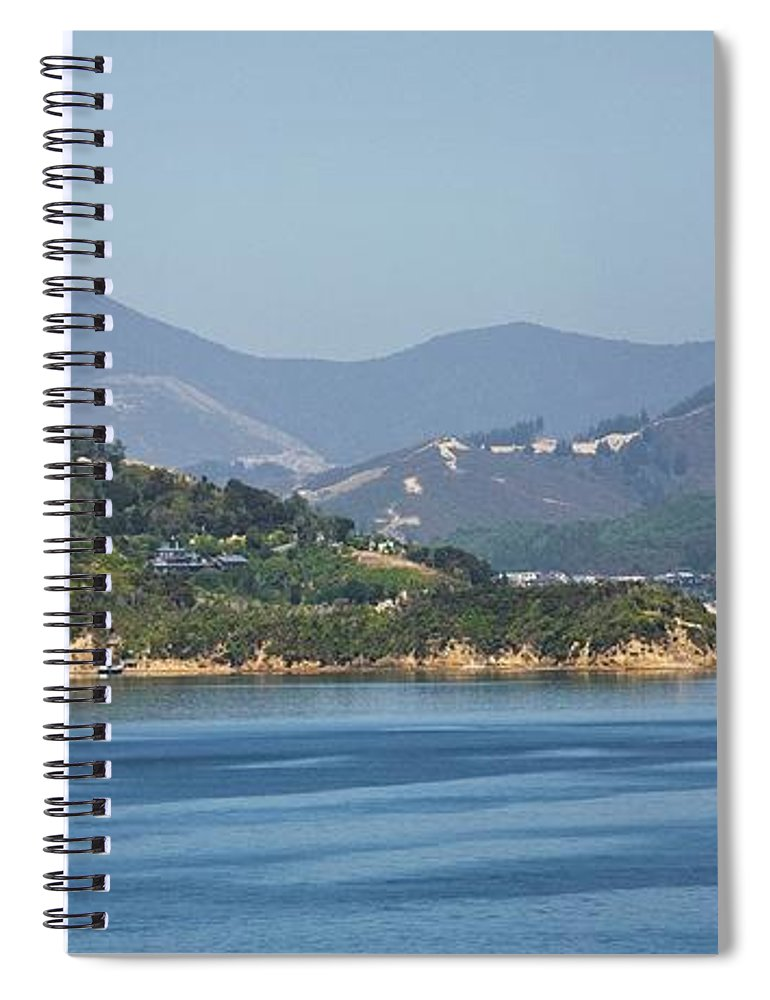 Panoramic Spiral Notebook featuring the photograph Boat On Water, Queen Charlotte Sound by Design Pics / John Doornkamp