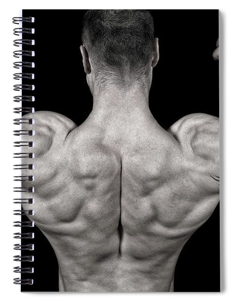 Toughness Spiral Notebook featuring the photograph Bodybuilder Posing by Vuk8691