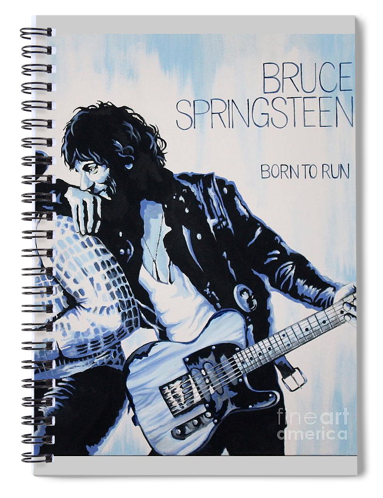 Bruce Springsteen Spiral Notebook featuring the painting Born to Run Bruce Springsteen by Amy Belonio