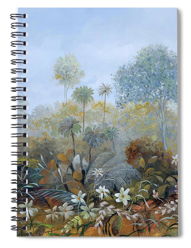 Wood Spiral Notebook featuring the painting Boschetto Colorato by Guido Borelli