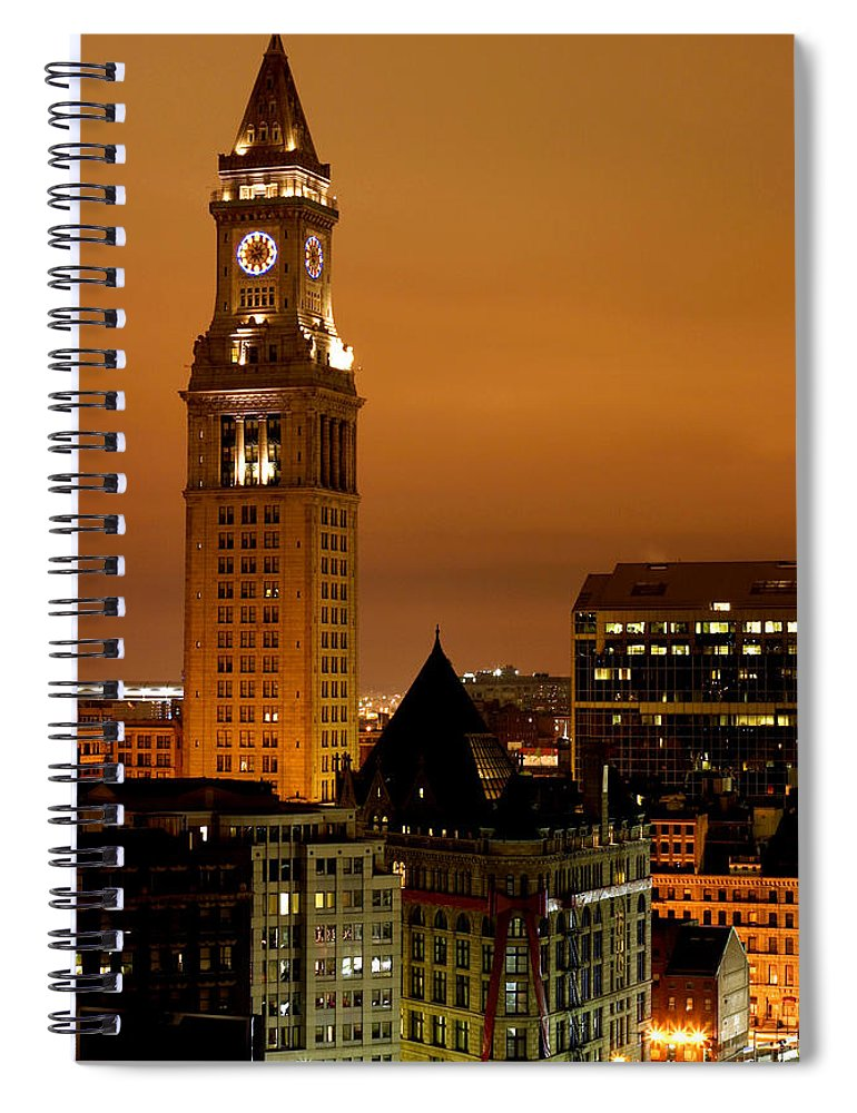 Scenics Spiral Notebook featuring the photograph Boston Clock Tower - Custom House by Jsmith