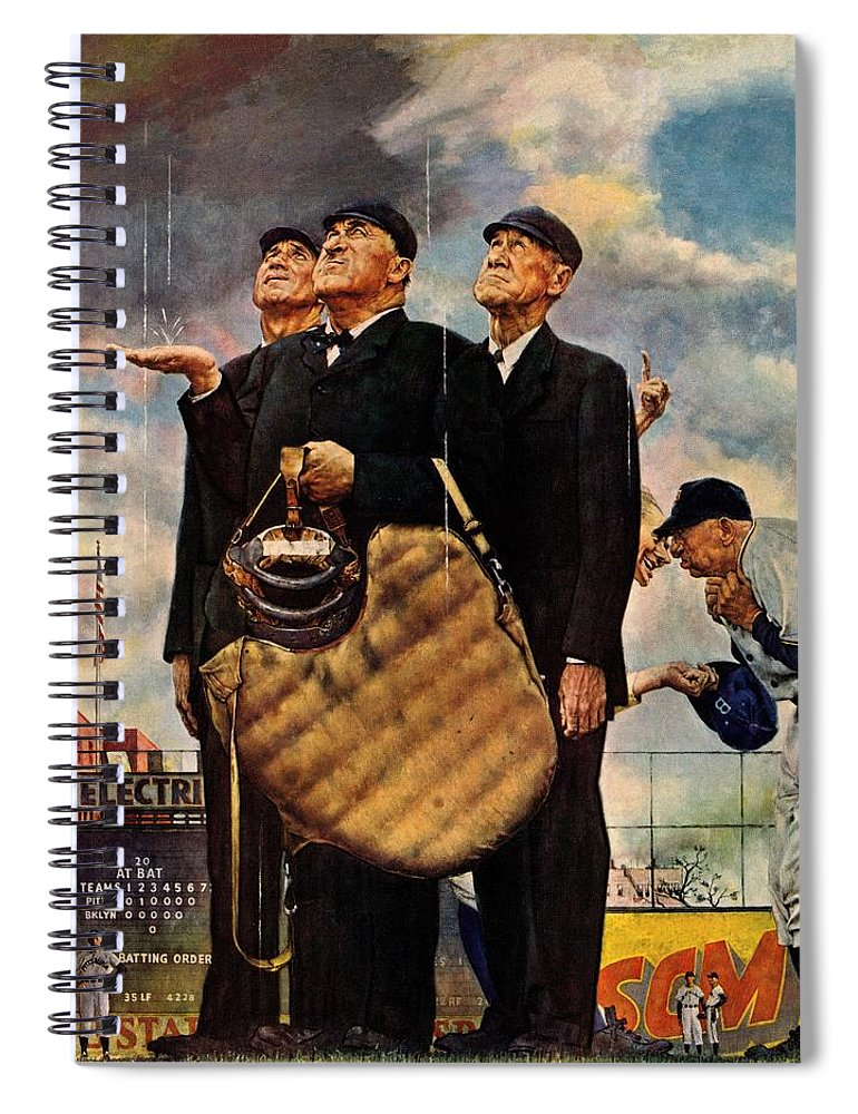 Baseball Spiral Notebook featuring the drawing Bottom Of The Sixth by Norman Rockwell
