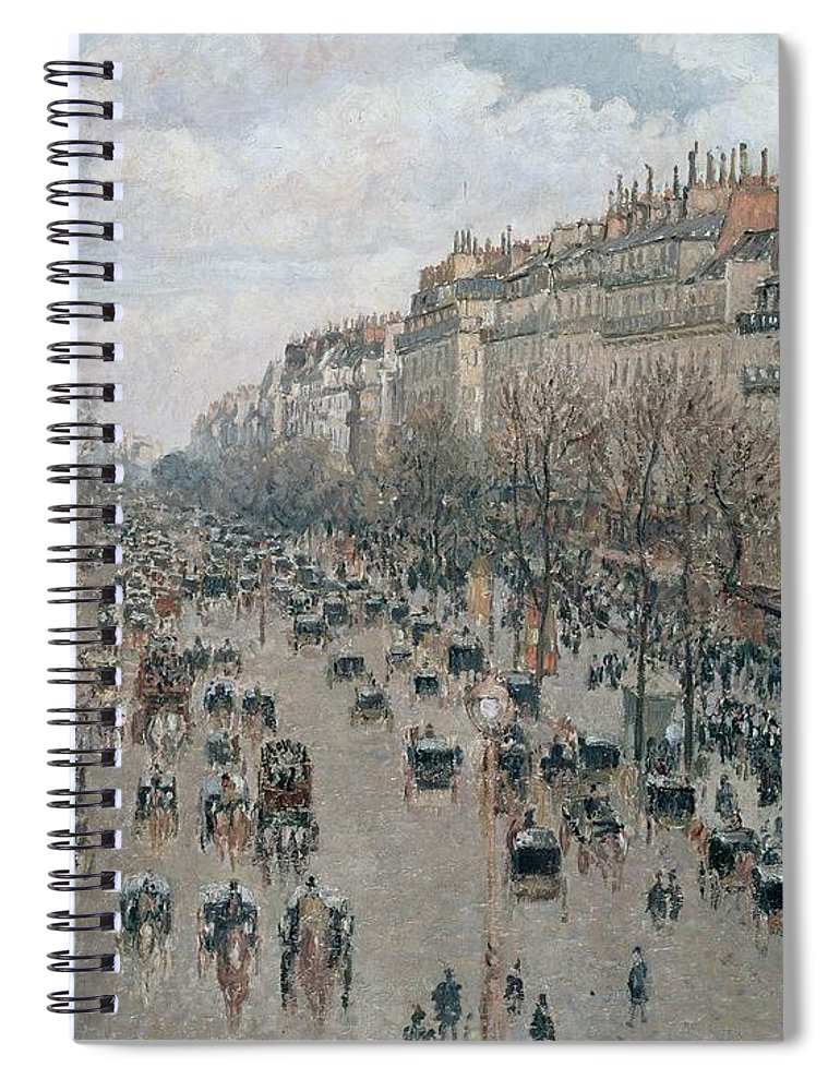 Camille Pissarro Spiral Notebook featuring the painting Boulevard Montmartre - Afternoon, Sunlight, 1897 by Camille Pissarro