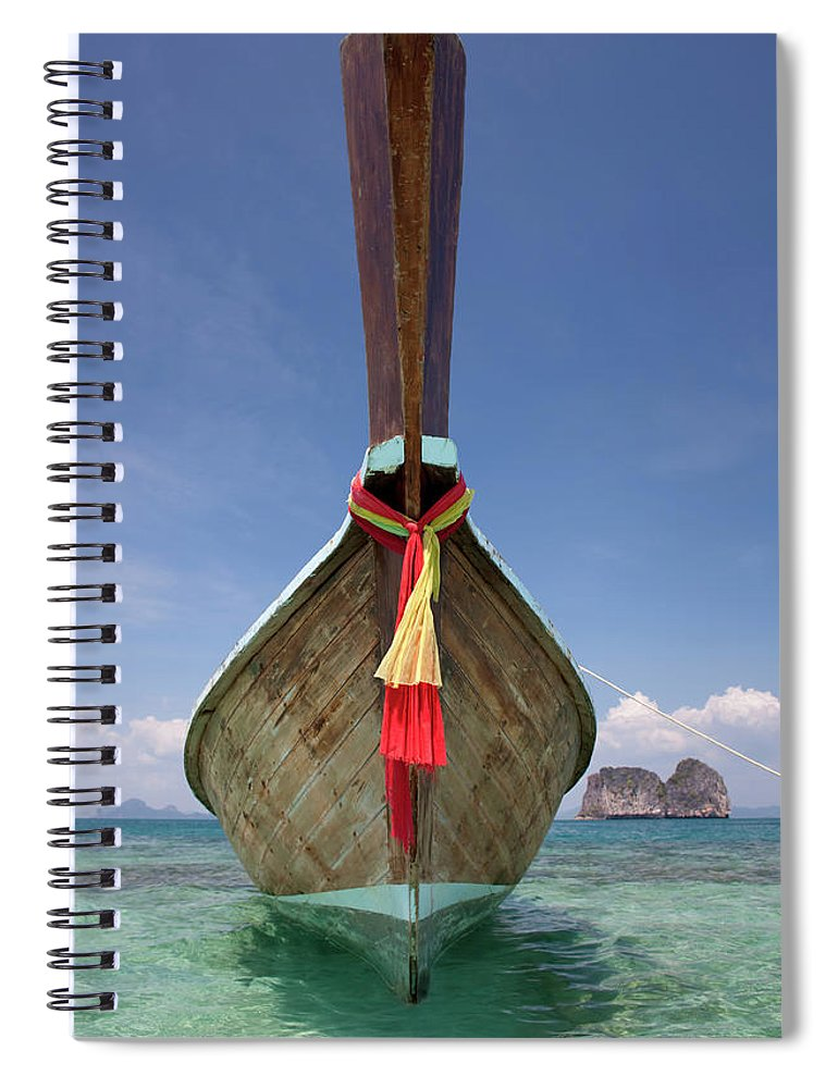 Andaman Sea Spiral Notebook featuring the photograph Bow Of A Long-tailed Boat, Thailand by Enviromantic