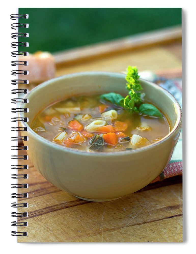 Italian Food Spiral Notebook featuring the photograph Bowl Of Minestrone Italian Soup, Winter by Funwithfood