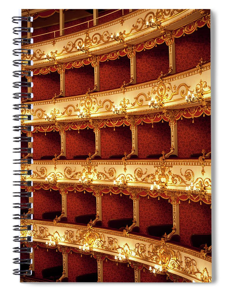 Event Spiral Notebook featuring the photograph Boxes Of Italian Antique Theater by Naphtalina