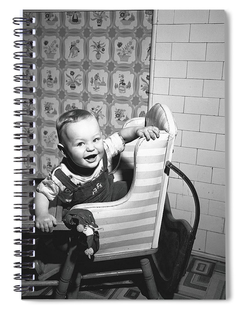 Child Spiral Notebook featuring the photograph Boy 2-3 Sitting In High Chair, B&w by George Marks