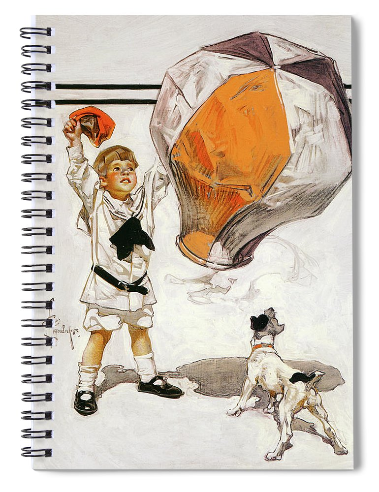 Joseph Christian Leyendecker Spiral Notebook featuring the painting Boy And Dog And A Balloon - Digital Remastered Edition by Joseph Christian Leyendecker
