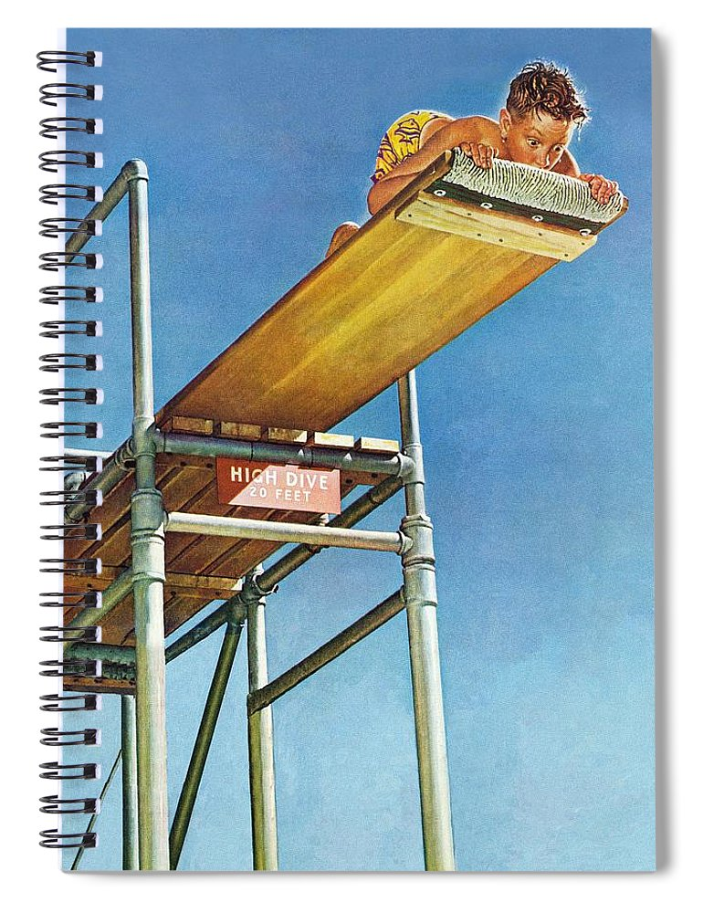 Boy Spiral Notebook featuring the drawing Boy On High Dive by Norman Rockwell