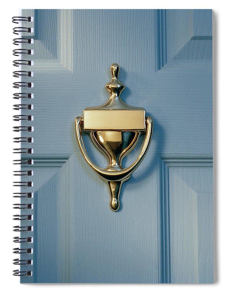 Brass Spiral Notebook featuring the photograph Brass Door Knocker On Front Door by Gk Hart/vikki Hart