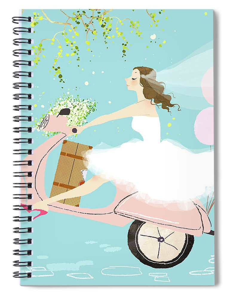 People Spiral Notebook featuring the digital art Bride On Scooter by Eastnine Inc.