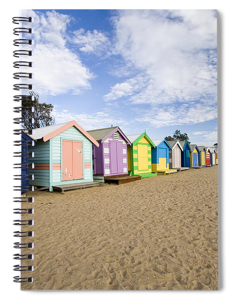 Steps Spiral Notebook featuring the photograph Brighton Beach Huts by Samvaltenbergs