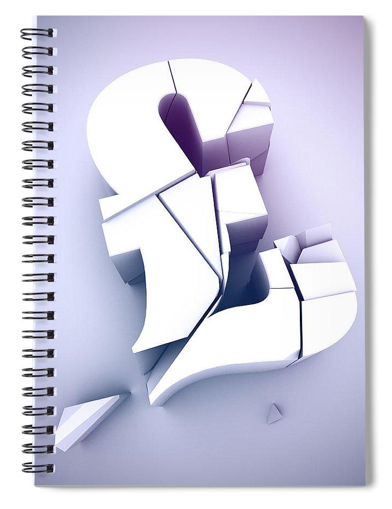 Damaged Spiral Notebook featuring the digital art Broken Pound Sterling Sign by Saul Gravy