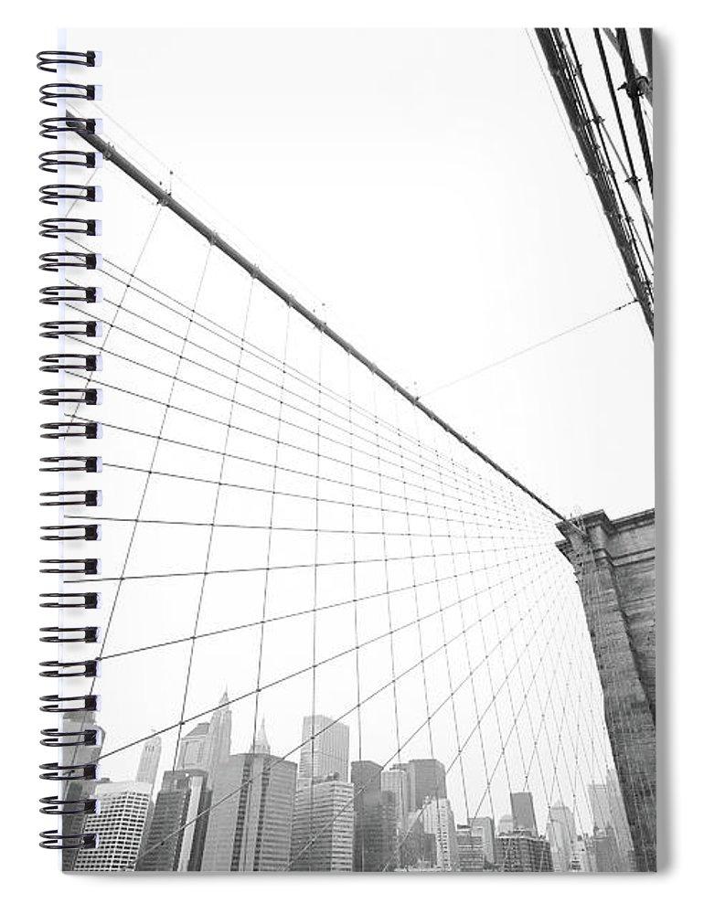 Wire Spiral Notebook featuring the photograph Brooklyn Bridge Cityscape by Digi guru