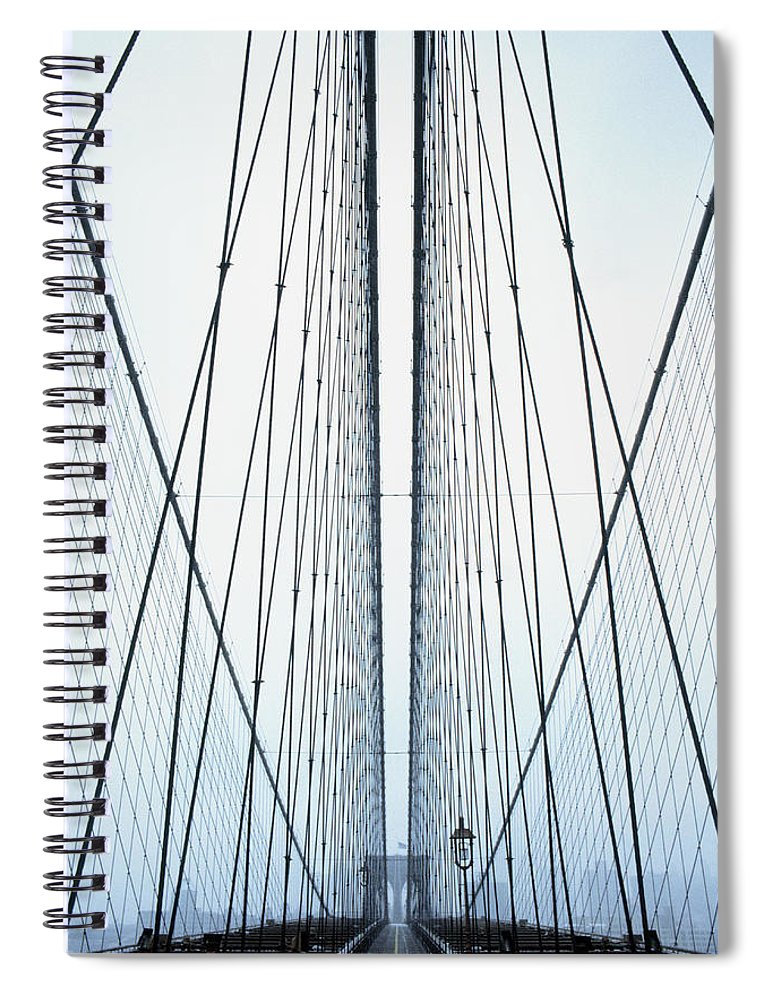 Suspension Bridge Spiral Notebook featuring the photograph Brooklyn Bridge by Eric O'connell