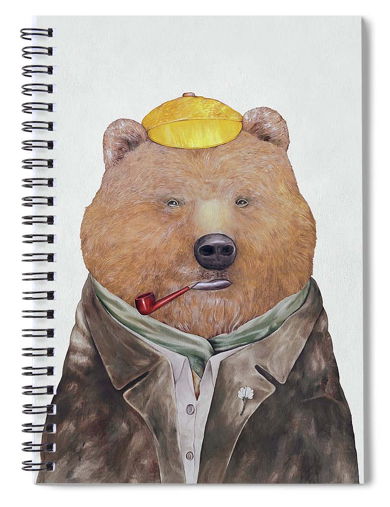 Brown Bear Spiral Notebook featuring the painting Brown Bear by Animal Crew
