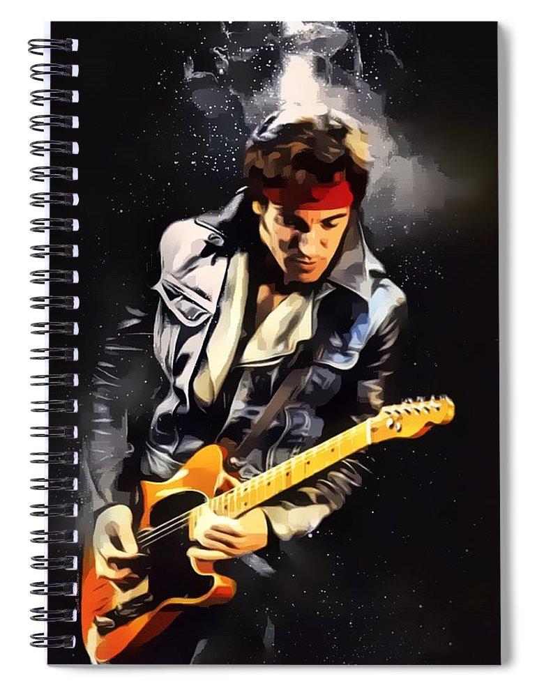 Bruce Springsteen Spiral Notebook featuring the digital art Bruce Springsteen Portrait by Scott Wallace Digital Designs