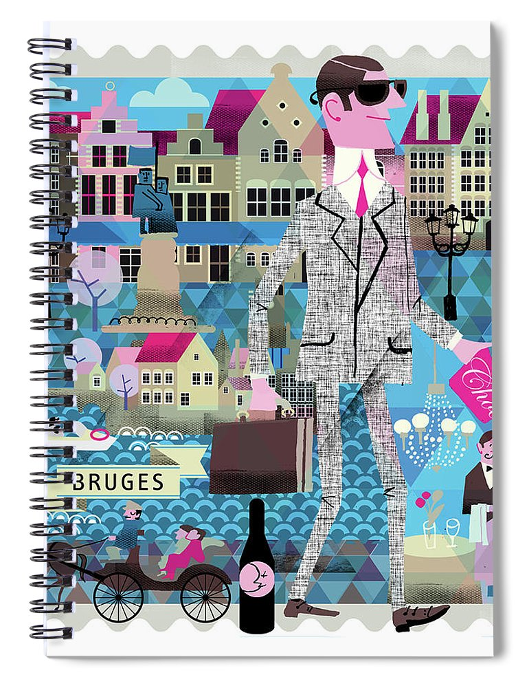 Belgium Spiral Notebook featuring the digital art Bruges by Luciano Lozano
