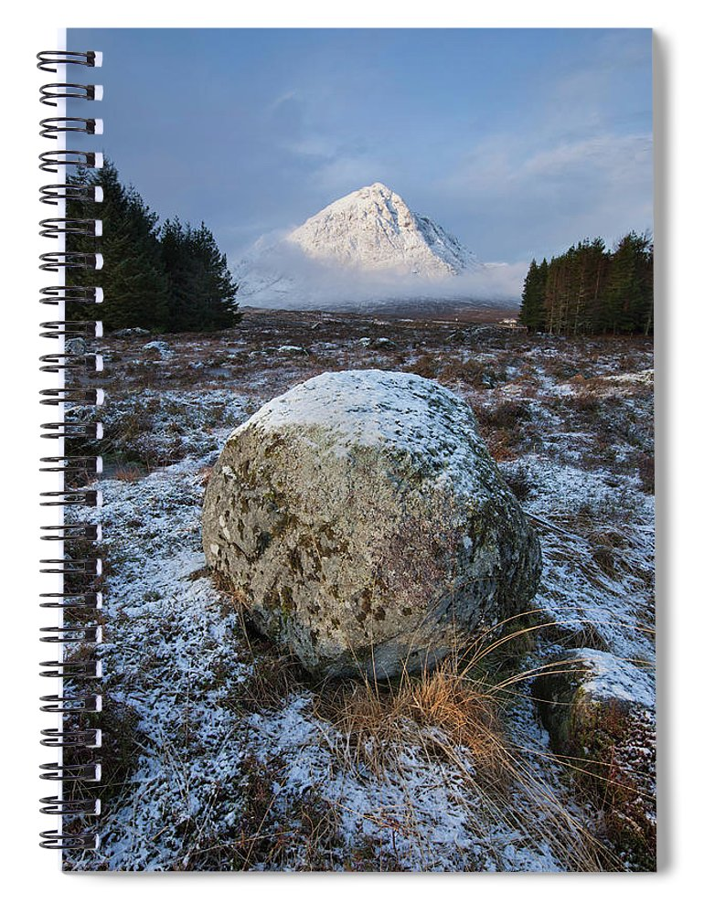 Rannoch Moor Spiral Notebook featuring the photograph Buachaille Etive Mor Sunlight by Paul Whiting