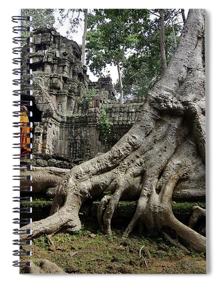 Orange Color Spiral Notebook featuring the photograph Buddhist Monk At Angkor Wat Temple by Timothy Allen