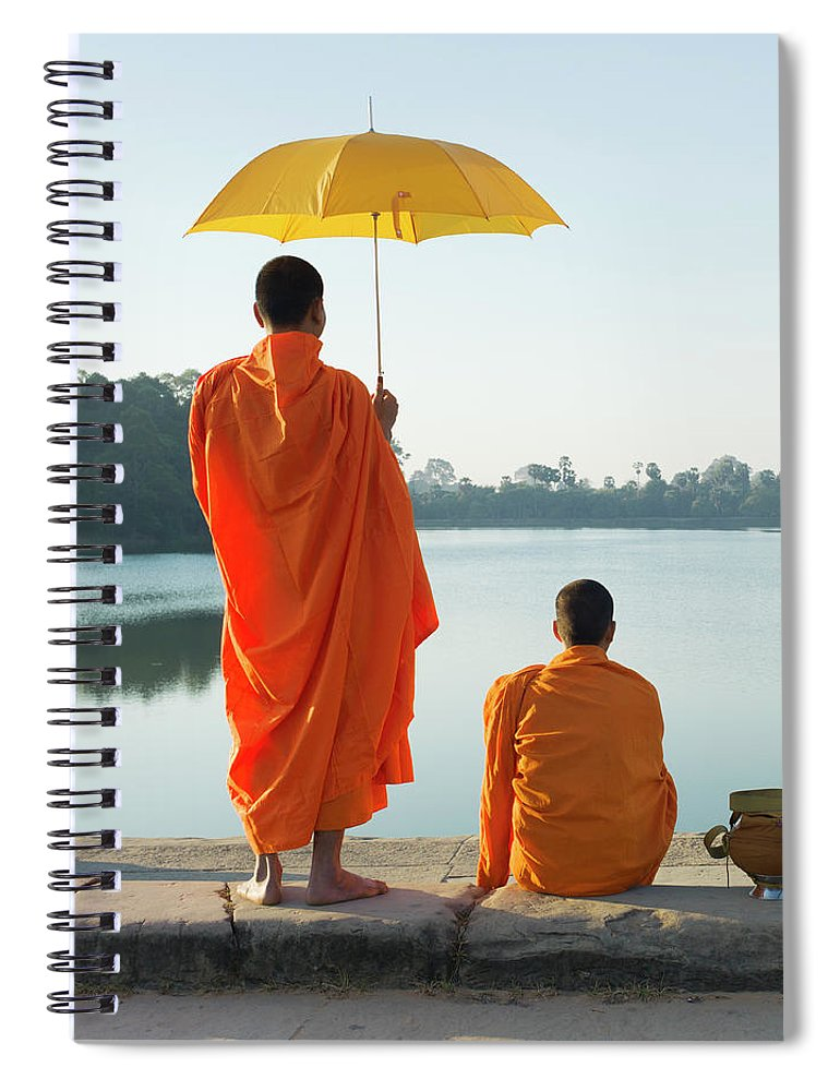 Young Men Spiral Notebook featuring the photograph Buddhist Monks Standing In Front Of by Martin Puddy