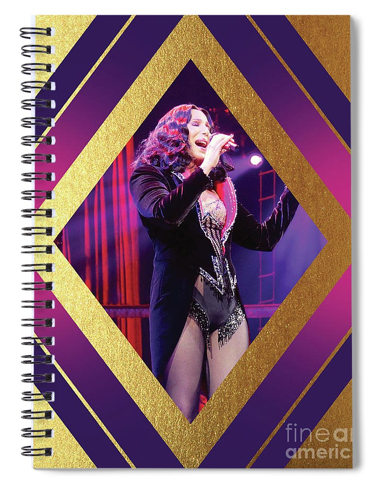 Cher Spiral Notebook featuring the digital art Burlesque Cher Diamond by Cher Style