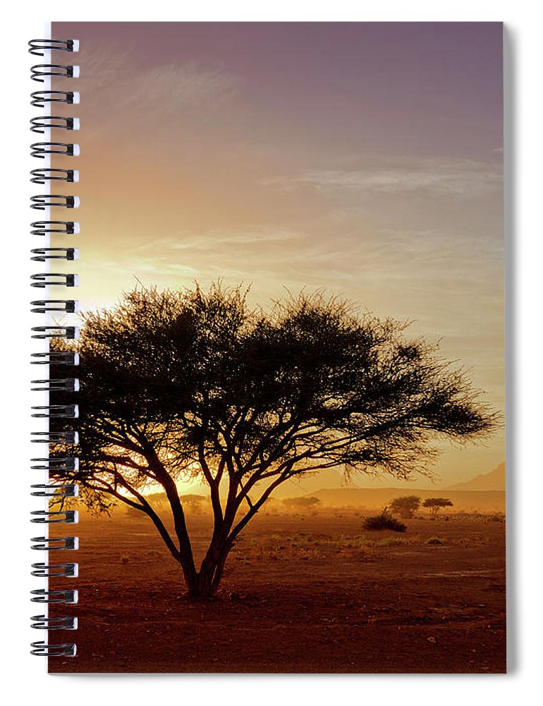 Tranquility Spiral Notebook featuring the photograph Burning Desert by Bernd Schunack