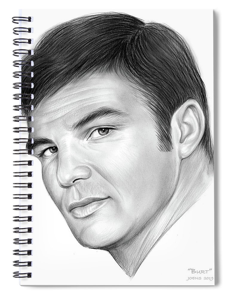 Burt Reynolds Spiral Notebook featuring the drawing Burt by Greg Joens