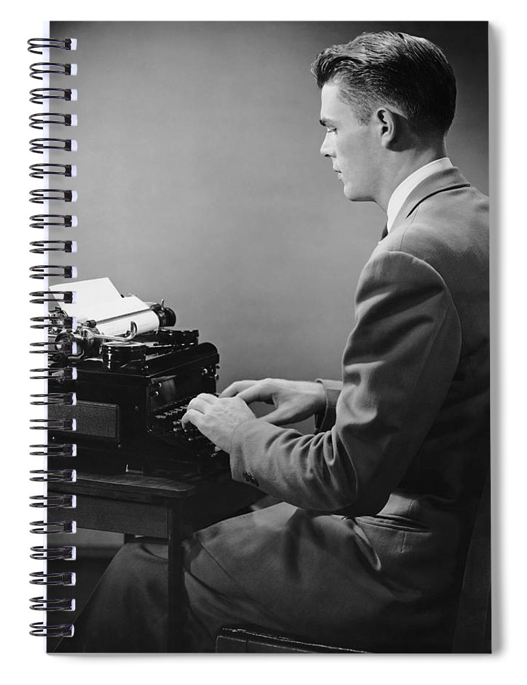 Three Quarter Length Spiral Notebook featuring the photograph Businessman Inside Office Typing by George Marks