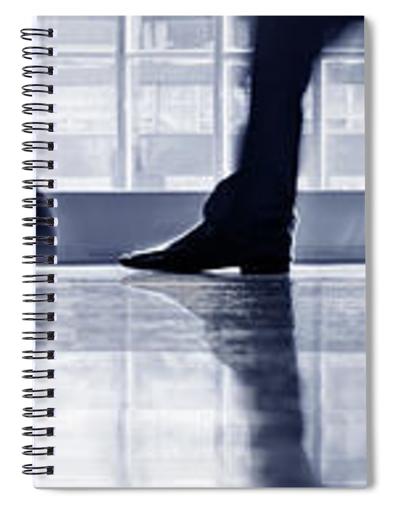 Corporate Business Spiral Notebook featuring the photograph Businesspeople Walking In Lobby, Low by Poba
