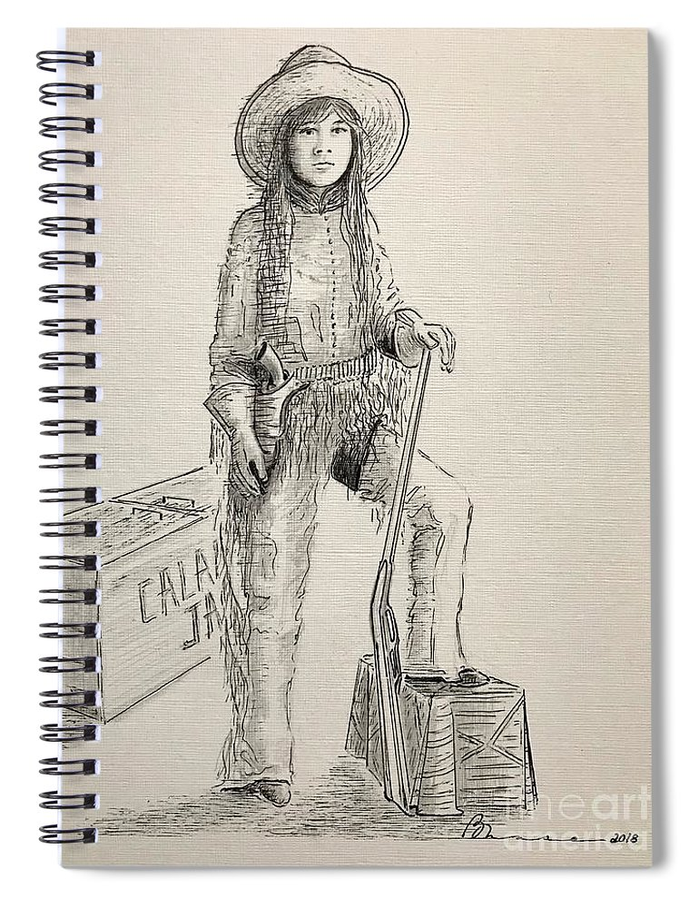 Calamity Jane Spiral Notebook featuring the drawing Calamity Jane by Barbara Chase
