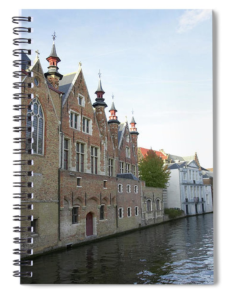 Old Town Spiral Notebook featuring the photograph Canal In The Old Town Of Brugge by Christof Koepsel