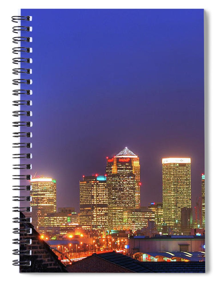 Clear Sky Spiral Notebook featuring the photograph Canary Wharf by Andy Linden