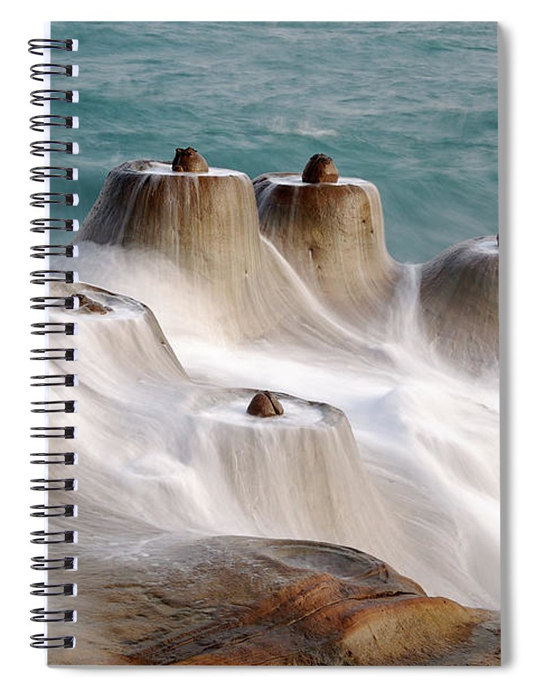 Taiwan Spiral Notebook featuring the photograph Candle Shaped Rock by Maxchu