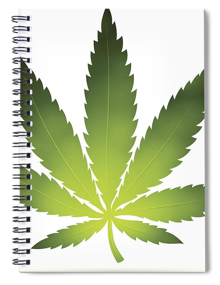 White Background Spiral Notebook featuring the digital art Cannabis Leaf by Filo