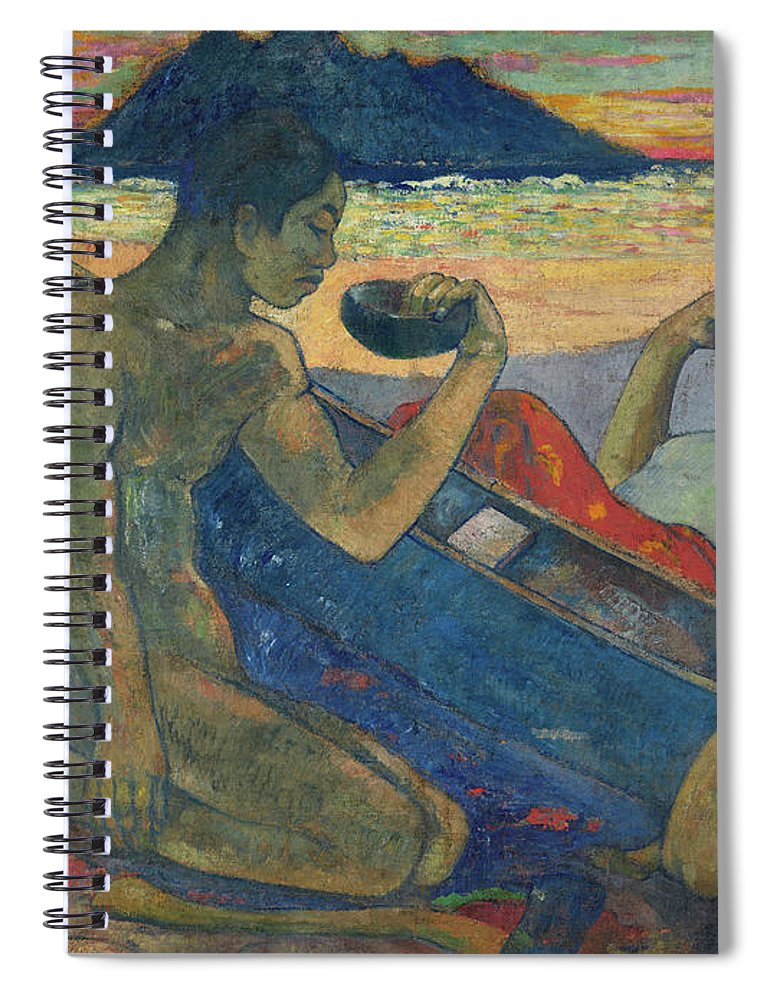 Paul Gauguin Spiral Notebook featuring the painting Canoe, Tahitian Family, 1896 by Paul Gauguin