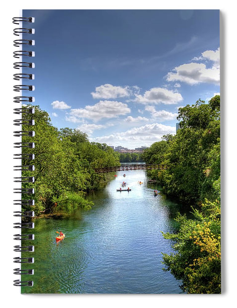 Recreational Pursuit Spiral Notebook featuring the photograph Canoes On Town Lake In Downtown Austin by Metschan